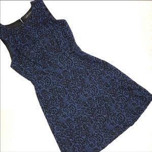 Zara Woman Blue Black Floral Dress Small